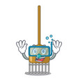 diving cartoon rake leaves with wooden stick vector image vector image