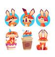 emotional foxes avatars cute cartoon fox sleep vector image