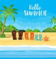 family flip-flops on beach vector image