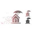fragmented pixel halftone house under umbrella vector image vector image