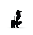 girl silhouette with travel bag in black vector image vector image
