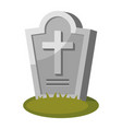 gravestone with cross on green grass old vector image