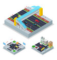 isometric urban road with crosswalk and buildings vector image vector image