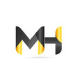 joined or connected mh m h yellow black alphabet vector image vector image