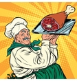 joyful retro cook with meat foot vector image