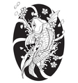 Koi fish Tattoo Japanese style lined pattern draw vector image vector image