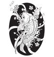 Koi fish Tattoo Japanese style lined pattern draw