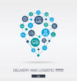 logistic integrated thin line web icons in map pin vector image vector image