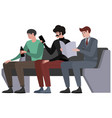 men sit in waiting turn public transport seat vector image