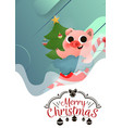 merry christmas and happy new year of pig with vector image vector image