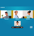 mix race friends meeting during video call stay vector image