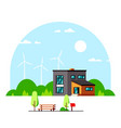 modern house with wind turbines on background vector image vector image