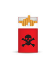 pack cigarettes with skull vector image vector image