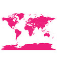 pink map of world high detail blank political map vector image vector image