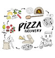 pizza hand drawn sketch set pizza preparation and vector image