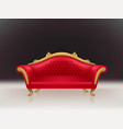 realistic luxurious red velvet sofa couch vector image vector image