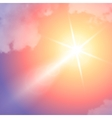Realistic sun flare with clouds on blue sky vector image vector image
