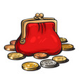 red purse with coins vector image vector image