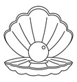 Sea shell with pearl icon outline style