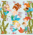 seamless background underwater world with cute vector image