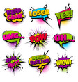 set hand drawn effects comic speech bubbles vector image