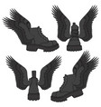 set of of black boots with wings vector image vector image