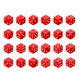 set of red isometric dice vector image vector image