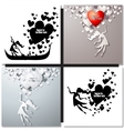 Set of Valentine day greeting cards vector image