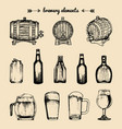 set of vintage brewery elements retro vector image vector image