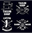 set of vintage tailor labels emblems and designed vector image