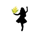 silhouette girl holds mimosa mothers day vector image