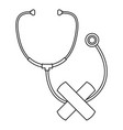 stethoscope cross bandage icon outline style vector image