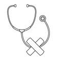 stethoscope cross bandage icon outline style vector image