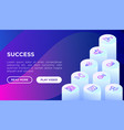 success concept with thin line isometric icons vector image
