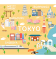 Tokyo travel map in flat vector image vector image