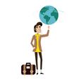 Traveller man spinning globe on finger vector image
