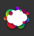 white cloud with colour bubbles on grey vector image vector image