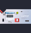 workplace desk laptop computer top angle view cell vector image vector image