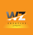 wz w z letter modern logo design with yellow vector image vector image