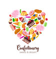 template with confectionery and sweets i vector image