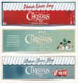 Merry Christmas retro banner set vector image