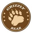 bear paw print brown circle label design vector image