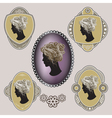 Cameo Ornate labels with female profile vector image