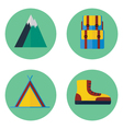 camping and hiking flat icon set vector image vector image