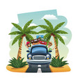 cartoon happy couple vintage car suitcases on the vector image