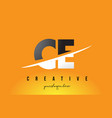 Ce c e letter modern logo design with yellow