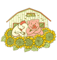 chicken and pig on the farm vector image