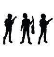 child play the guitar silhouette vector image