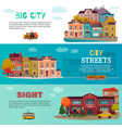 city buildings horizontal banners set vector image vector image