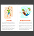 climbing and bungee jumping poster with text vector image vector image